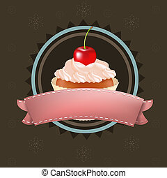 Cupcake With Cherry, Vector Illustration