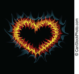 Flaming heart. Vector illustration.