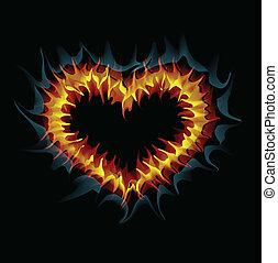 Flaming heart. Vector illustration.