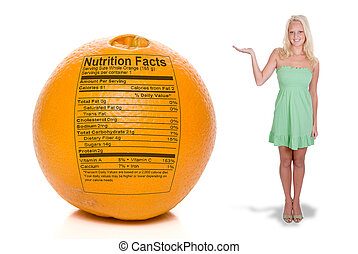Woman with Orange Nutrition Facts - A beautiful woman...