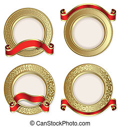 Set from gold backgrounds with red ribbon on the white...