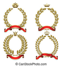 Set from gold laurel and oak wreath on the white background...
