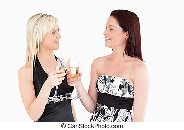 Beautiful women in beautiful dresses toasting with champagne