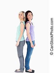 Young women posing