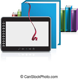 E-book reader with stack of books on white. Vector...