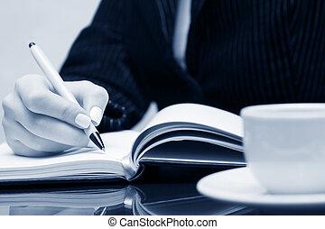 mujer de negocios, escritura