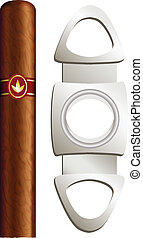 Cigar and guillotine. Vector illustration on white...