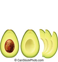 Avocado. Half of the fruit and cut into slices. Vector...