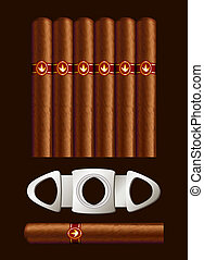 Cigars and guillotine. Vector illustration on black...