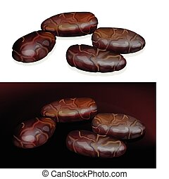 Cacao Beans. Vector illustration on white and dark...