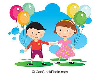 niños, con, Un, globo