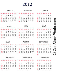 Template for calendar 2012. Day date new year illustration