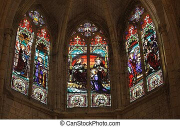 """detail of french gothic church """"notre dame d'Uzeste"""" with..."""