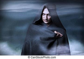 dia das bruxas, conceito, moda, Retrato, macho, feiticeira