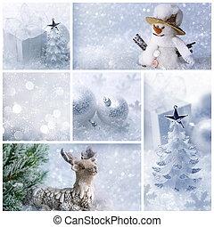 blanco, navidad, collage