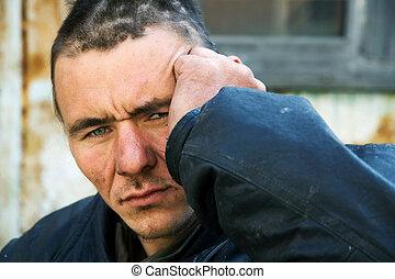 Homeless man - Homeless beggar on a city street