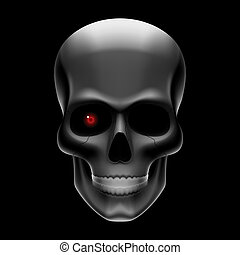 One eyed skull on black - Vector illustration of an one-eyed...