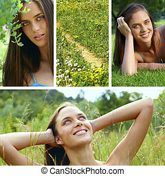 collage of a beautiful young brunette woman in tall green...