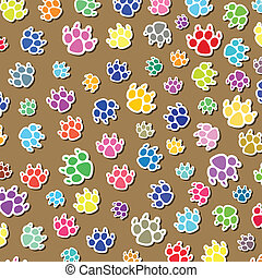 dog's foot prints - vector background of colorful dog's foot...