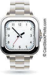 reloj de pulsera, plata