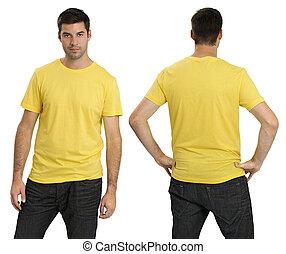 il portare, maschio, camicia, giallo, vuoto