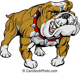 Bulldog clipart illustration - A cartoon very hard looking...