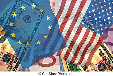 World economy. Dollars and euro with european Union flag and...