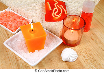 Spa still life - Spa and wellness accessories in orange...