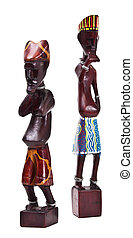 Wooden african figurine isolated on white background