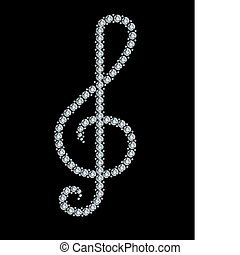 Diamond treble clef. Vector illustration