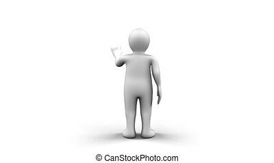 Animated white 3d Man - An animated white figure is using a...