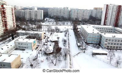 Panoramic view of the city of the windows in winter