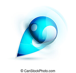 Vector abstract blue water sphere icon - Vector illustration...