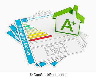 Energy certificate with house model isolated on white -...