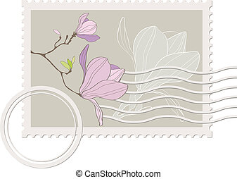 blank post stamp with magnolia