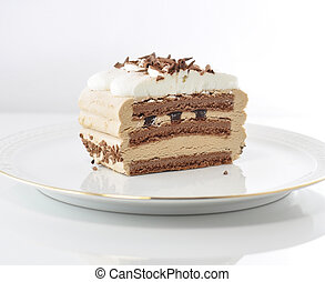 cappuccino cream cake on a plate