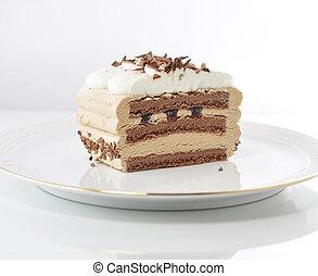 cappuccino cream cake on a plate