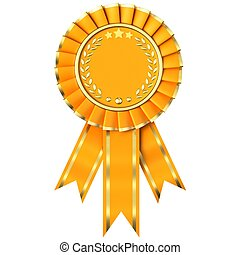 Yellow Ribbon Award isolated on white background.