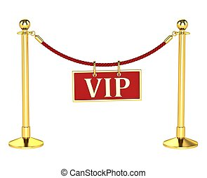 A velvet rope barrier, with a vip sign Isolated on white...