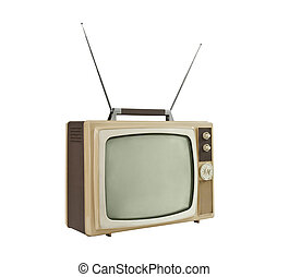 1960's Portable Television with Antennas Up - Side Angle