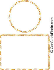 Attractive Gold Chain Frames - Vector illustration of golden...