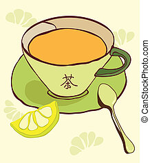 Cup of tea with abstract background