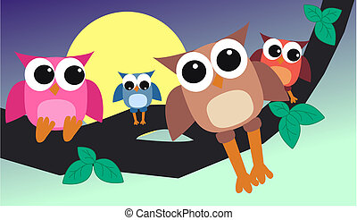 colourful owl family
