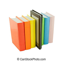 Row of colorful books and electronic book reader isolated on...