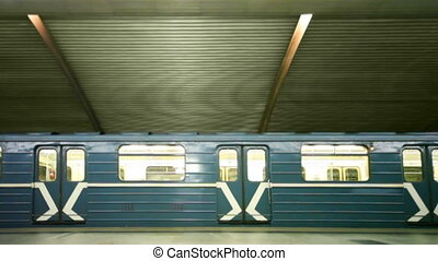 Train stands and leaves on subway station Cherkizovskaya