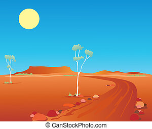 australian outback - an illustration of an australian...