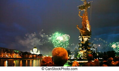 People watch bright fireworks - MOSCOW - MAY 9: People watch...