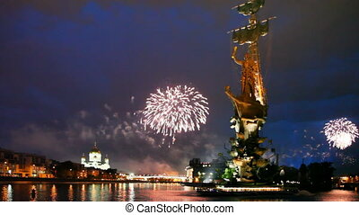 Bright fireworks of devoted to Day of Victory in Great...