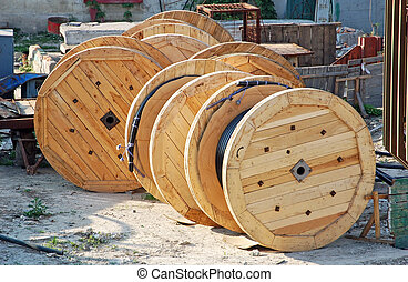 Coil of cable - Wooden coil of electric cable on plant yard