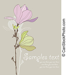 Card with stylized magnolia retro